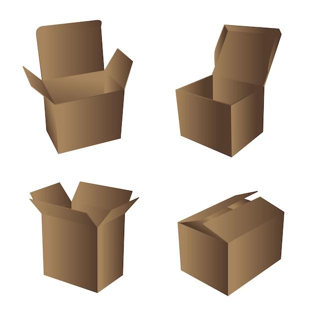 Illustration de boîtes en carton Vecteur Premium