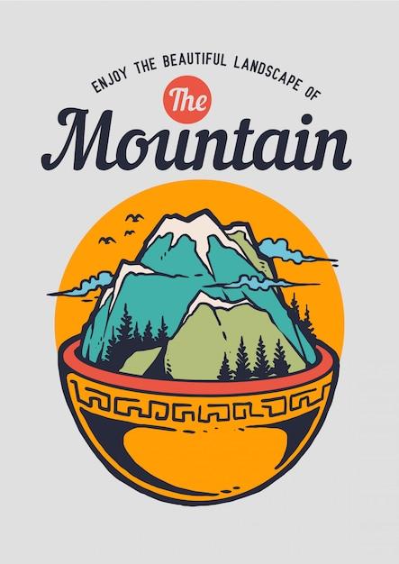 Illustration d'un bol avec un paysage de montagne et de nature sur le dessus. Vecteur Premium