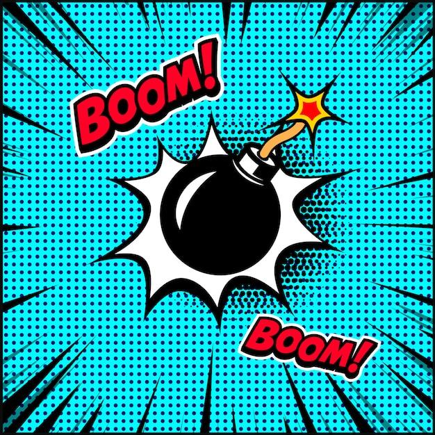 Illustration De Bombe De Style Bande Dessinée. élément Pour Affiche, Bannière, Flyer. Illustration Vecteur Premium