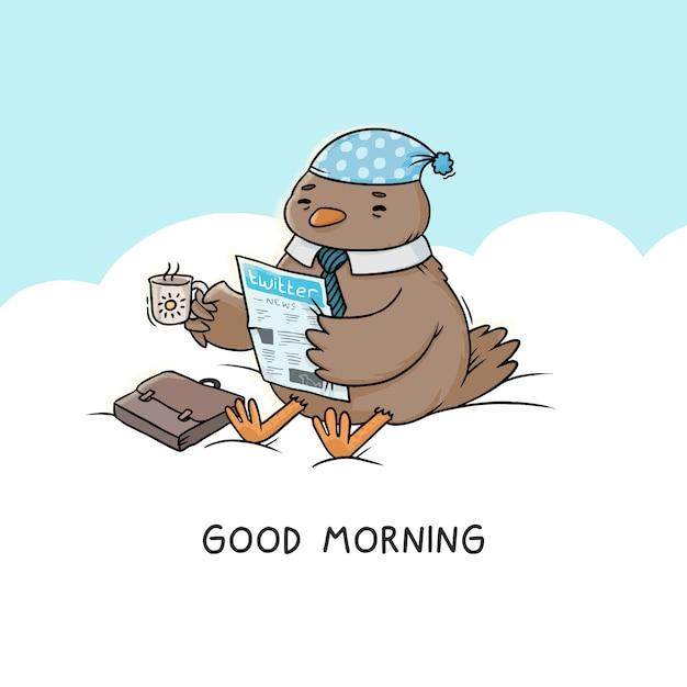 Illustration Bonjour, L'oiseau Est Assis Sur Un Nuage Boit Du Café Avec Un Journal Vecteur Premium