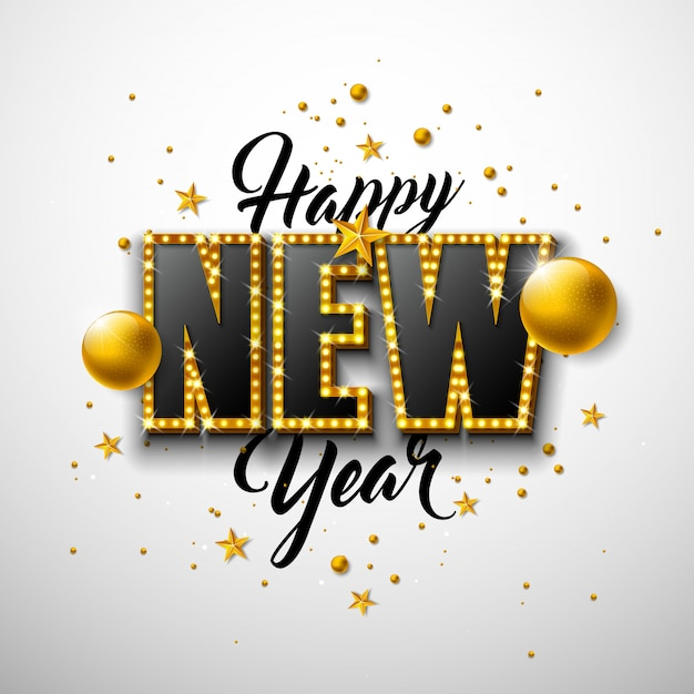 Illustration De Bonne Année 2020 Avec Lettrage De Typographie 3d Et Boule De Noël Sur Fond Blanc. Vecteur gratuit