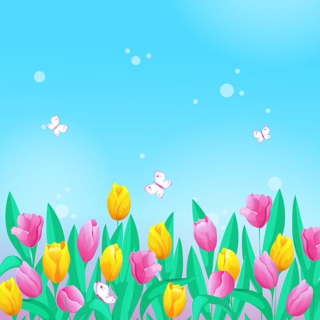 Illustration Avec Une Bordure De Tulipes, Ciel Et Papillons. Vecteur Premium