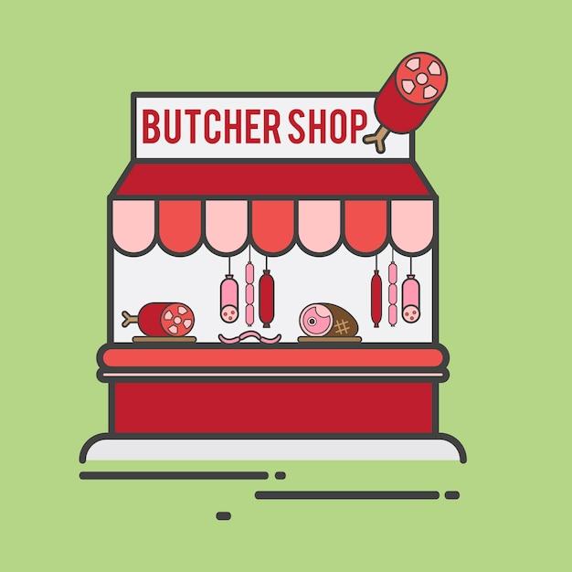 Illustration d'une boucherie Vecteur gratuit