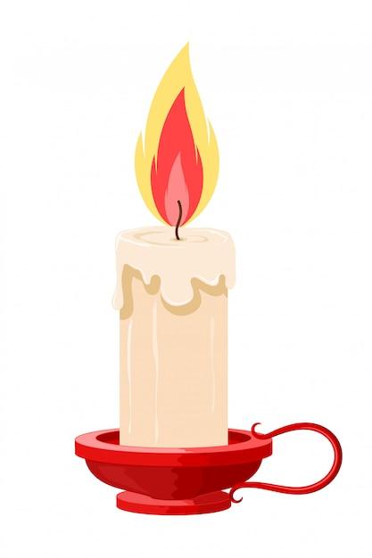 Illustration d'une bougie allumée dans un support. bougie de dessin animé avec la flamme dans le support rouge. objet isolé. bougie vintage Vecteur Premium