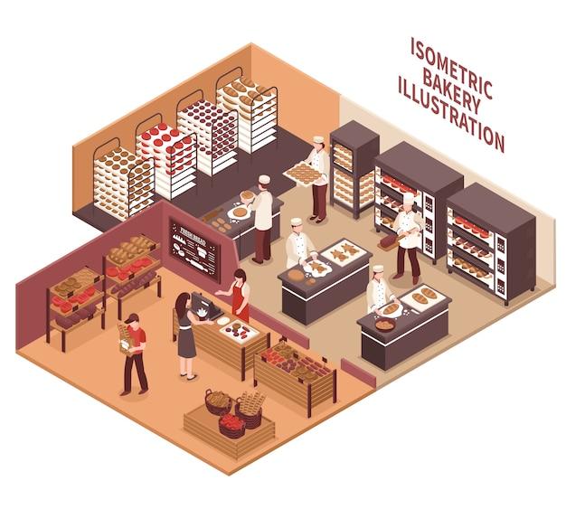 Illustration de la boulangerie isométrique Vecteur gratuit