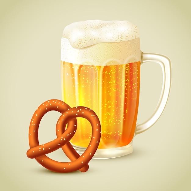Illustration de bretzel de bière Vecteur Premium