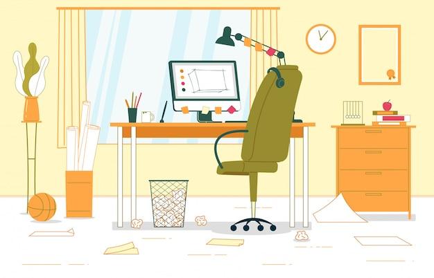 Illustration De Bureau à L'intérieur De L'entreprise. Vecteur Premium