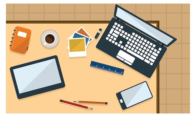 Illustration de bureau et de papeterie en vue de dessus de style plat Vecteur Premium