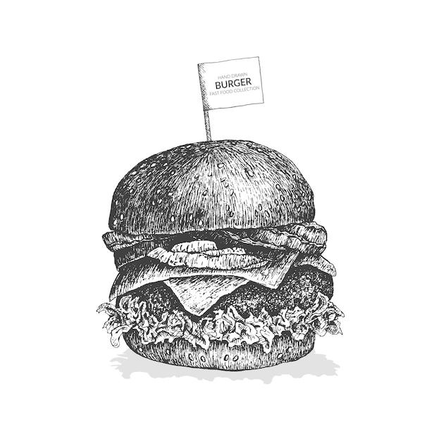 Illustration de burger dessinés à la main. collection de restauration rapide vintage noir et blanc. Vecteur Premium