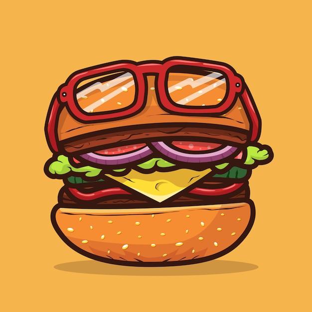 Illustration De Burger Avec Illustration De Nourriture De Lunettes Vecteur Premium