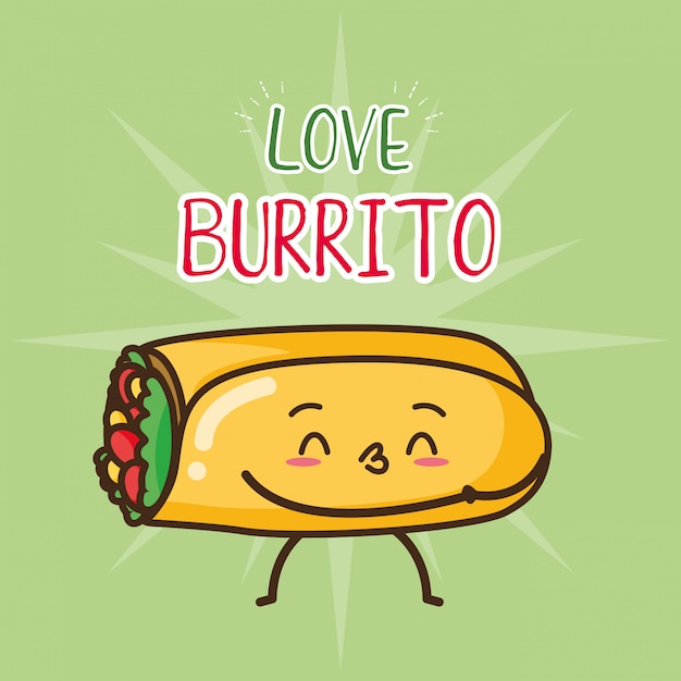 Illustration de burrito mignon restauration rapide kawaii Vecteur gratuit