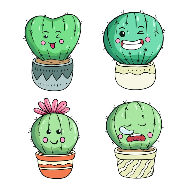 Illustration De Cactus Mignon Doodle Avec Visage Ou Expression Kawaii Vecteur Premium