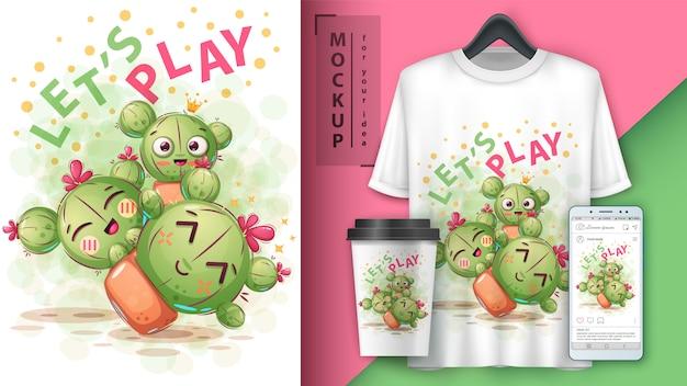 Illustration de cactus mignon et merchandising Vecteur Premium
