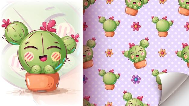 Illustration De Cactus Mignon - Modèle Sans Couture Vecteur gratuit