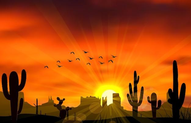 Illustration de cactus quand le coucher de soleil Vecteur Premium