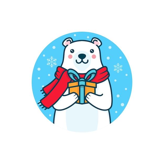 Illustration De Cadeau De Noël De L'ours Polaire D'hiver Vecteur Premium