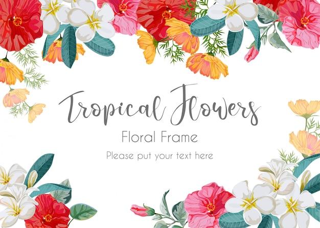 Illustration de cadre de fleur tropicale Vecteur Premium