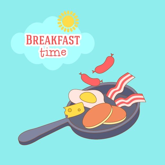 Illustration De Cadre Mignon Et Simple Avec Omelette, Huile D'olive, œufs, Lait, Sel, Oignon, Champignons Vecteur gratuit