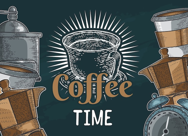 Illustration café dessiné à la main pour vous concevoir Vecteur Premium
