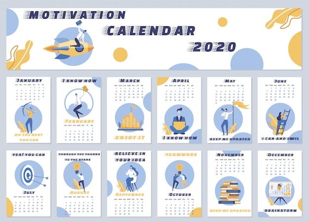 Illustration calendrier de motivation 2020 lettrage. Vecteur Premium