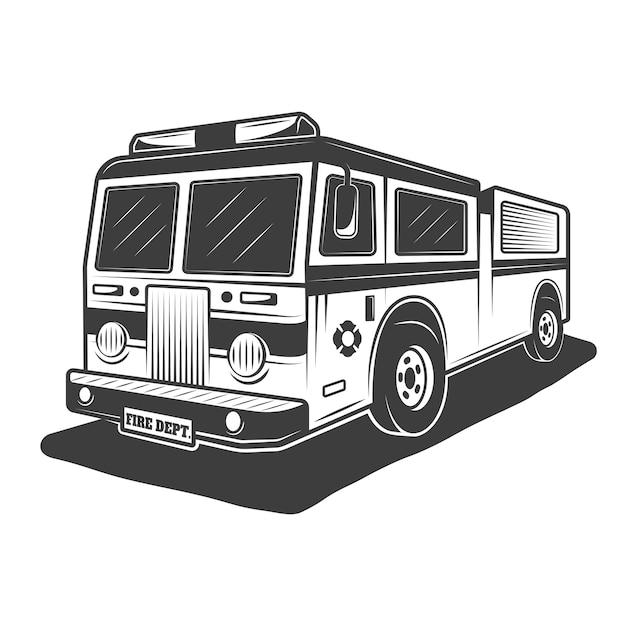 Illustration De Camion De Pompiers En Vintage Monochrome Sur Fond Blanc Vecteur Premium
