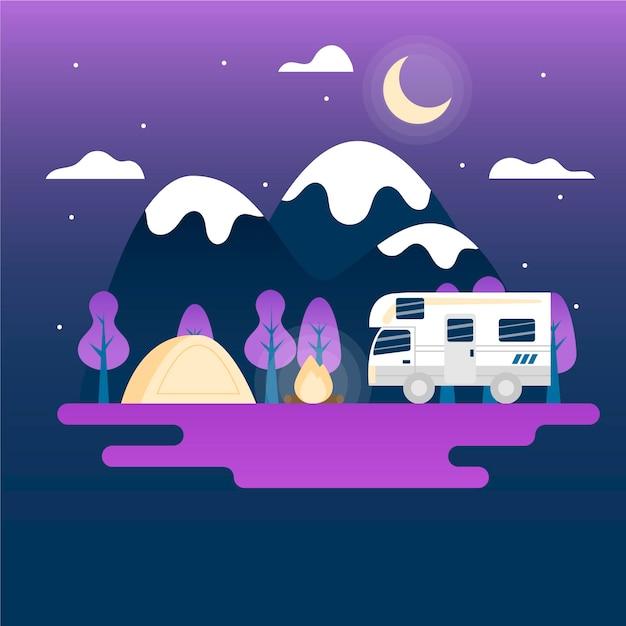 Illustration De Camping Avec Une Caravane Vecteur gratuit