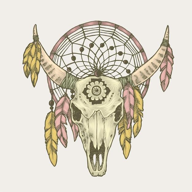 Illustration De Capteur De Rêves De Crâne De Taureau Vecteur Premium