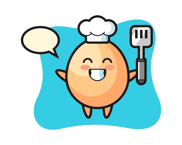 Illustration De Caractère D'oeuf En Tant Que Chef Cuisine, Style Mignon Pour T-shirt, Autocollant, élément De Logo Vecteur Premium