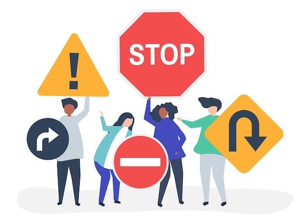 Illustration de caractère de personnes avec des icônes de panneau de signalisation Vecteur gratuit
