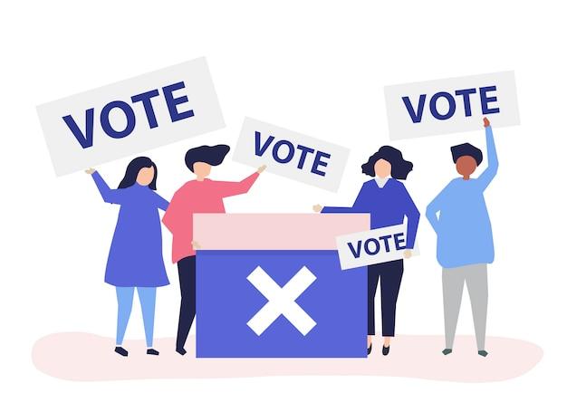 Illustration De Caractère De Personnes Avec Des Icônes De Vote Vecteur gratuit