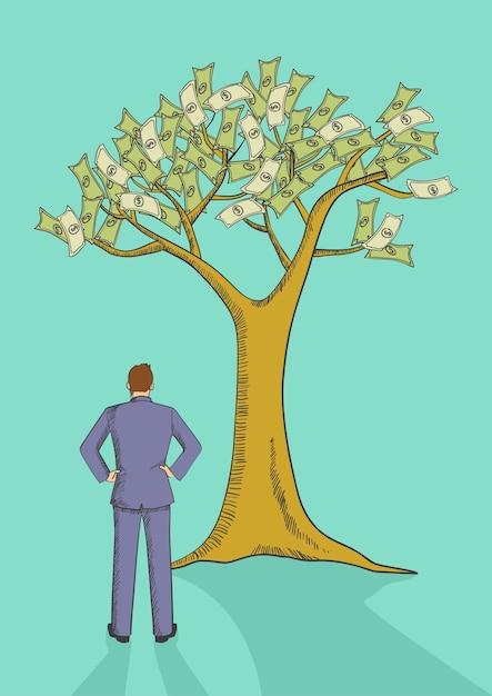 Illustration De La Caricature D'un Homme Regardant L'arbre De L'argent Vecteur Premium