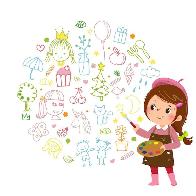 Illustration Caricature De Petite Fille Artiste Peinture Avec Des Peintures Couleur Et Pinceau Sur Fond Blanc. Vecteur Premium