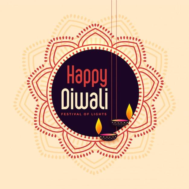 Illustration De Carte Festival Joyeux Indien Diwali Vecteur gratuit