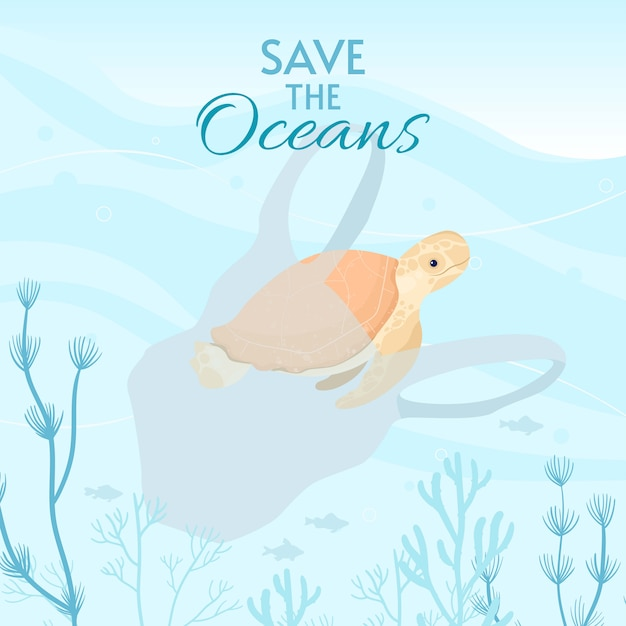 Illustration De La Carte De La Journée Mondiale Des Océans. Aidez à Protéger Et à Conserver Les Océans Du Monde, L'eau Et L'écosystème. Vecteur Premium