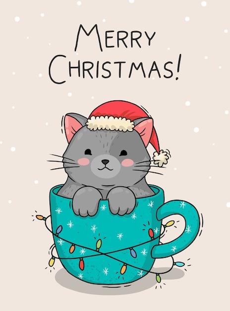 Illustration De Carte De Noël Avec Un Chat Dans Une Tasse Vecteur Premium