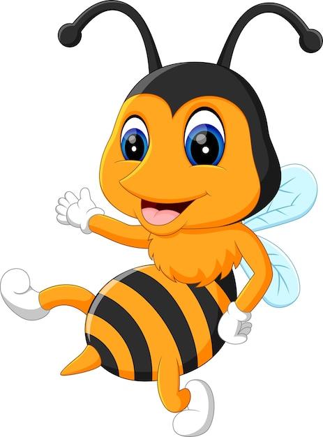 Illustration de cartoon abeilles adorables Vecteur Premium