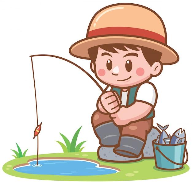 Illustration de cartoon boy pêchant Vecteur Premium