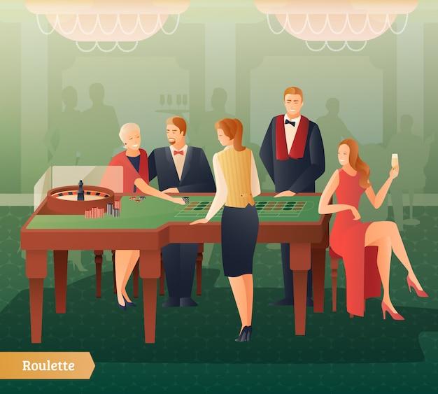Illustration de casino et de roulette Vecteur Premium