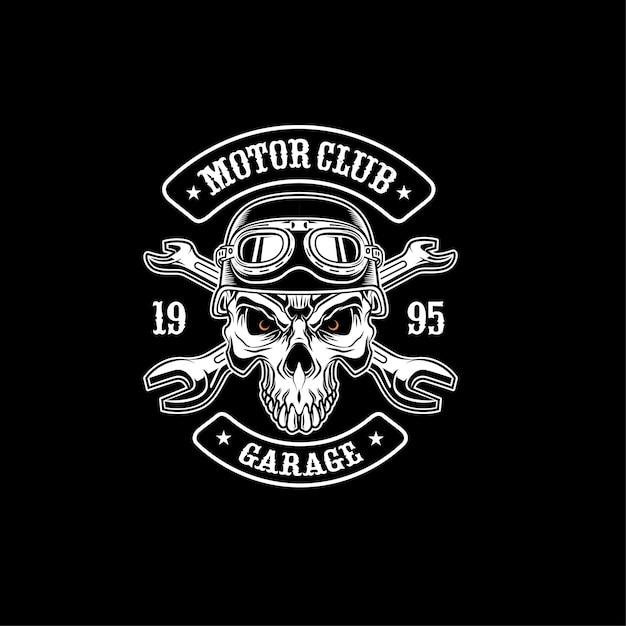 Illustration de casque de moto de crâne Vecteur Premium
