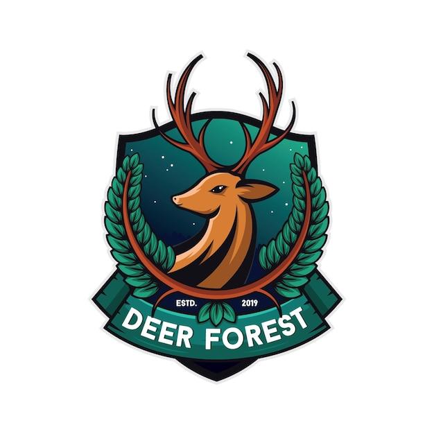 Illustration de cerf forestier, fond blanc Vecteur Premium