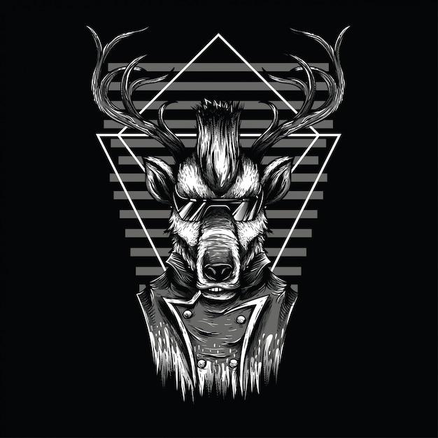 Illustration d'un cerf noir et blanc Vecteur Premium