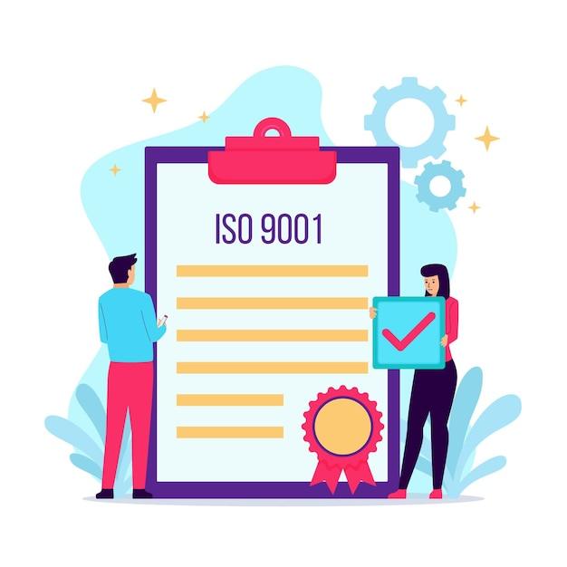 Illustration De Certification Iso Avec Bloc-notes Vecteur gratuit