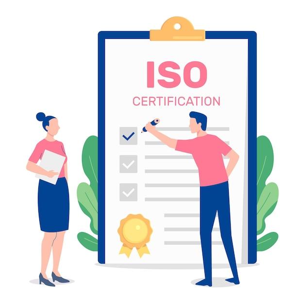 Illustration De Certification Iso Avec Des Personnes Et Un Bloc-notes Vecteur gratuit