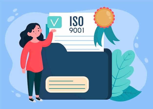 Illustration De La Certification Iso Vecteur Premium