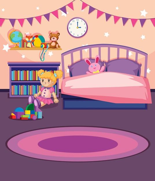 Illustration d'une chambre de fille Vecteur Premium