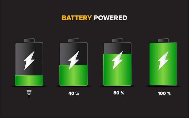 Illustration de la charge de l'accumulateur de batterie Vecteur Premium