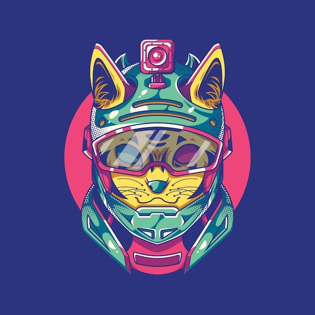 Illustration de chat d'action Vecteur Premium