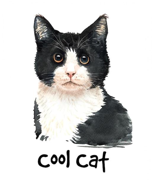 Illustration de chat noir aquarelle mignon. Vecteur Premium