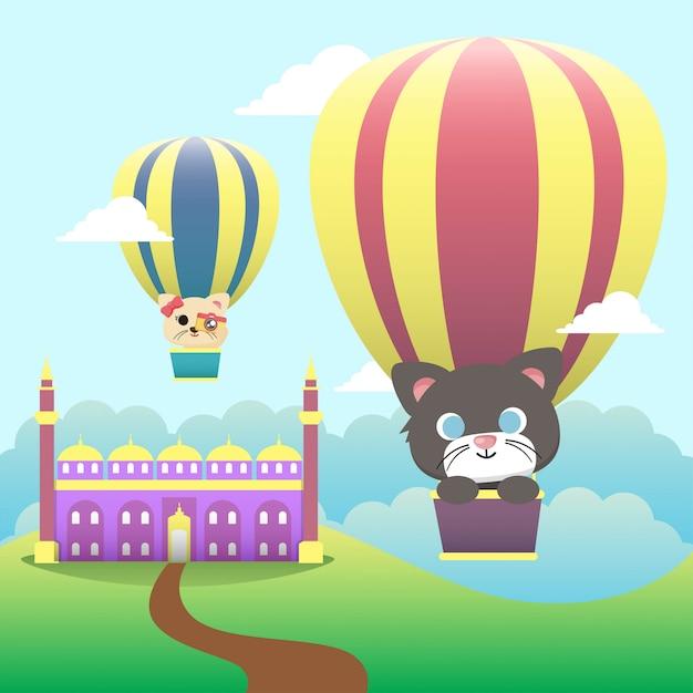 Illustration de chat de vacances Vecteur Premium