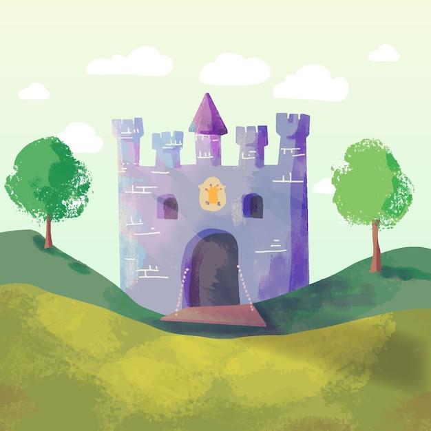 Illustration De Château De Conte De Fées Magique Vecteur gratuit